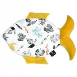 Fish Pillow Curry Goldenprint - Velvet