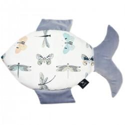 Fish Pillow Grey Wings - Velvet