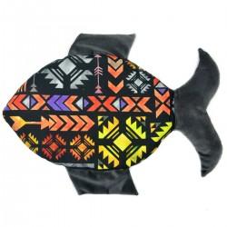 Fish Pillow Dark Grey Boho - Velvet