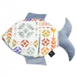 Fish Pillow Grey Light Boho - Velvet