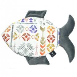 Fish Pillow Dark Grey Light Boho - Velvet