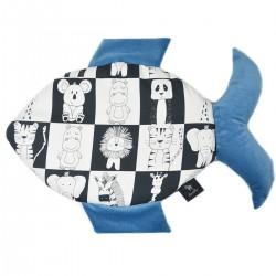 Fish Pillow Blue Wonderland - Velvet