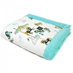 Newborn Blanket 60x70cm Aqua Funfair - Velvet