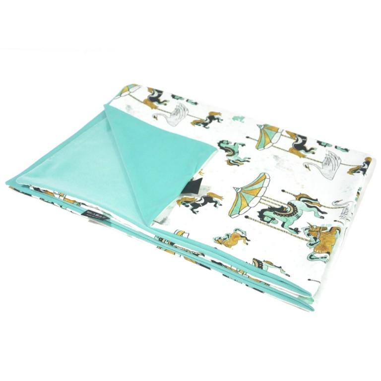 Preschooler Blanket Light 100x130 Aqua Funfair - Velvet