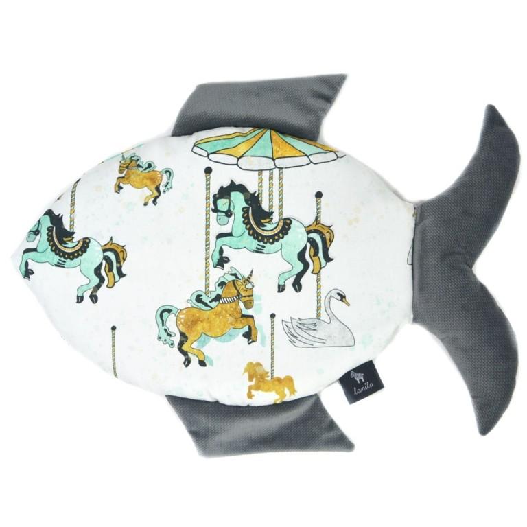 Fish Pillow Dark Grey Funfair - Velvet