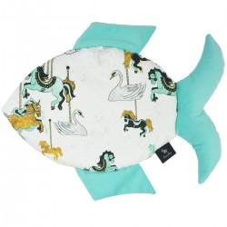 Fish Pillow Aqua Funfair - Velvet