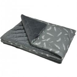 Preschooler Blanket 100x130cm Dark Grey Feathers - Velvet
