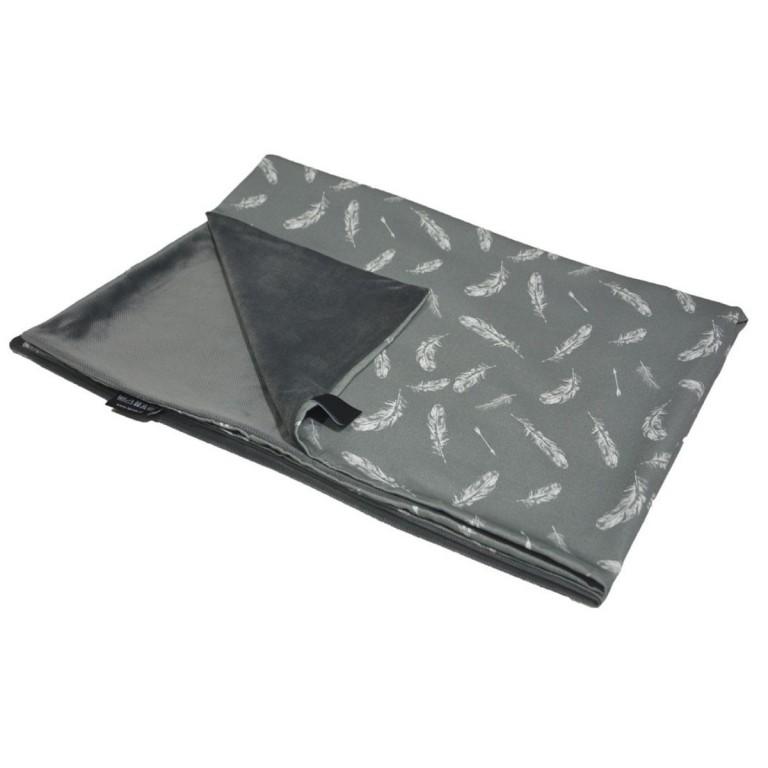 Preschooler Blanket Light 100x130 Dark Grey Feathers - Velvet