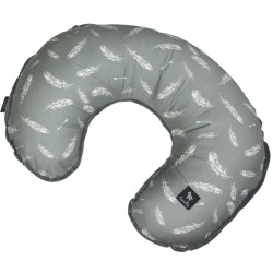 Breastfeeding Pillow Dark Grey Feathers - Velvet