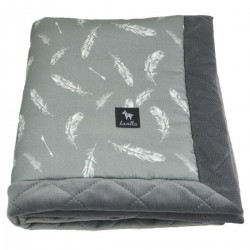 Kocyk Velvet 60x70 Dark Grey Feathers