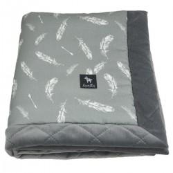 Newborn Blanket 60x70cm Grey Feathers - Velvet