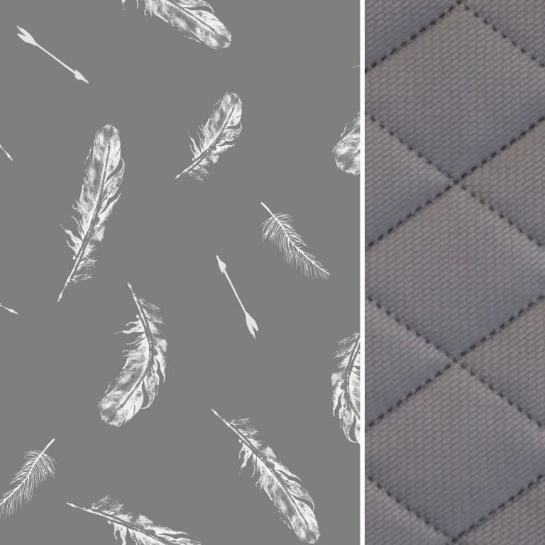 Koc Dark Grey Feathers 140x200 - Velvet