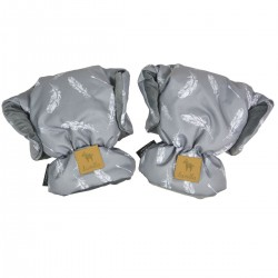 Waterproof Muff/Gloves Dark Grey Feathers Velvet