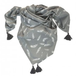 Scarf With Fringes Dark Grey Feathers